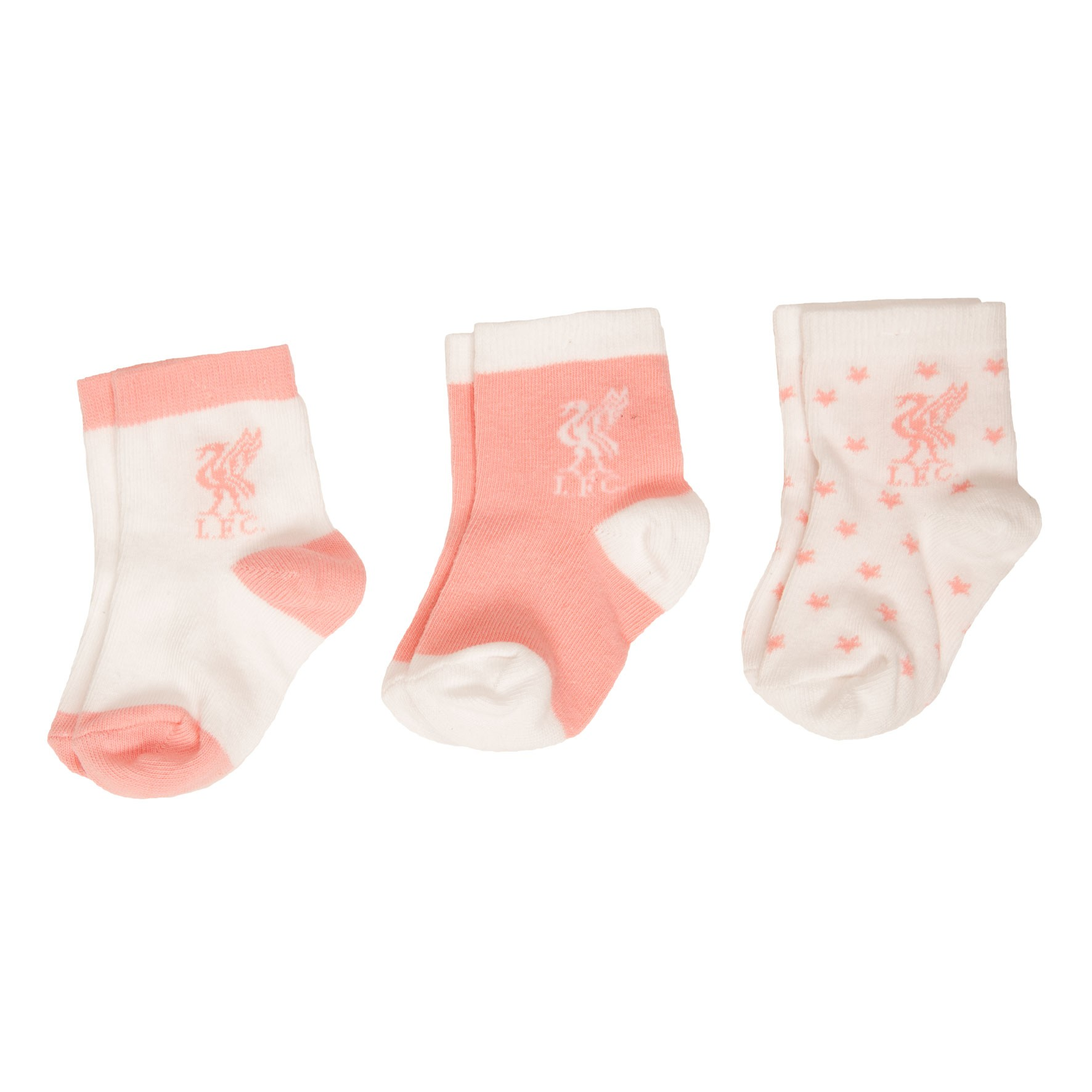 LFC 3 Pack Baby Girl Pink Socks