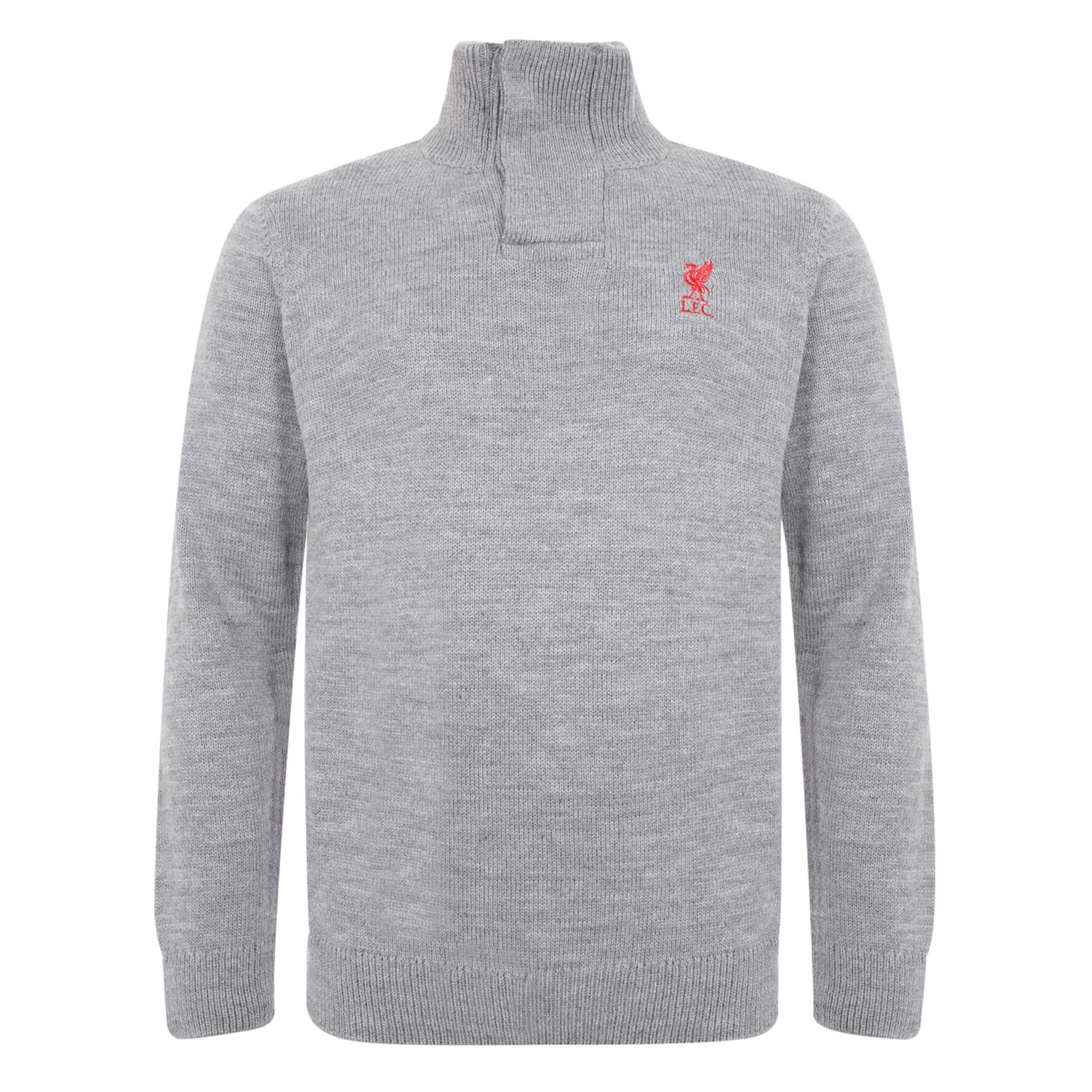 LFC Mens Grey Acrylic Funnel Neck Knit
